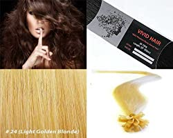 "Vivid Hair 100 Strands Straight Pre Bonded U Nail Tip Fusion Remy Human Hair Extensions 22"" Inches # 24 Light Golden Blonde Color"