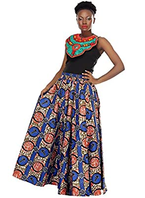 African Planet Women's Wax Skirt ankh Inspired Elastic Waist Maxi