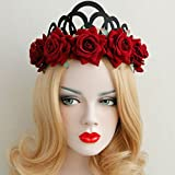 Womens Gothic Red Roses Crown Retro Headband for Party Wedding
