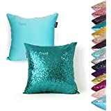 AMAZLINEN(TM) Decorative Glitzy Sequin & Comfy Satin Solid Throw Pillow Cover 18 Inch Square Pillow Case, Hidden Zipper Design, 1 Cover Pack Only(Teal)