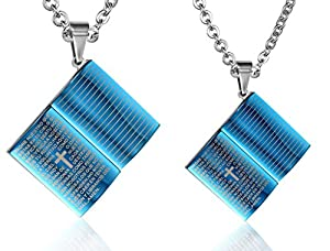 AnnroZ Unisex Pendant Necklace Stainless Steel Textbooks Bible Letter Cross Shaped Blue