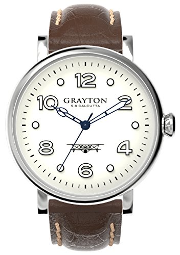 Grayton S.8 Calcutta Men's Quartz Watch with White Dial Analogue Display and Brown Leather Strap GR-0014-007.6