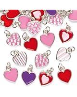 Breloques Cœur (Lot de 24) - Idéal pour les créations sur le thème de la St valentin ou de la Fête des mères