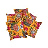 Rajrang Decorative Indian Design Cotton Sofa Cushion Cover 16 By 16 Set 5 Pcs