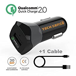 Tech Sense Lab Qualcomm® Certified Quick Charge 2.0 Car Charger By Tech Sense Lab®, Intelli Sense 5V/2.4A & QC 2.0 12V/9V/5V For Samsung Galaxy S6/S6 Edge/Note 4, Note Edge, HTC One M8/M9/Butterfly 2,Sony Xperia Z2/Z2 Tablet/ Z3/Z3 Tablet/Z4 (Z3+), Nexus 5/6, LG G2 Flex/G4 + Micro USB Cable Included, QC Charger backward compatible with all other Smartphones and iPhone(Black)