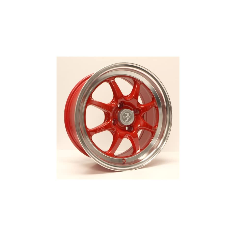 15x7 Enkei J SPEED (Red w/ Machined Lip) Wheels/Rims 4x100 (464 570 4925RD)