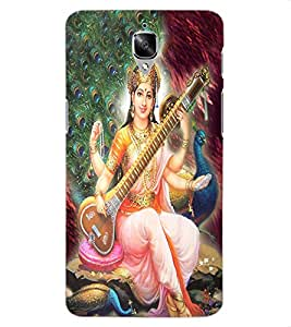 ColourCraft Maa Saraswati Design Back Case Cover for OnePlus Three