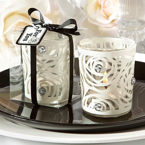 Decorative Wedding Candle Favors : Rose Tealight Candle Holder ~ White