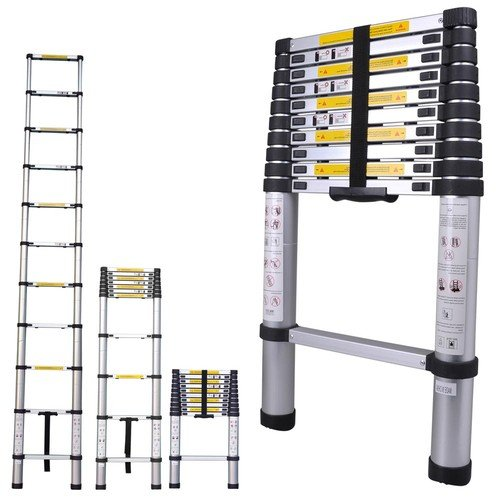 Collapsible Ladder 10 Ft : Telescoping ladder aluminum ft extension