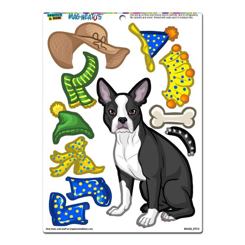 Graphics and More 'Boston Terrier Dress-Up' Dog Pet Funny MAG-NEATO'S Novelty Gift Paper Doll Locker Refrigerator Vinyl Magnet Set (Refrigerator Magnets Paper Doll compare prices)