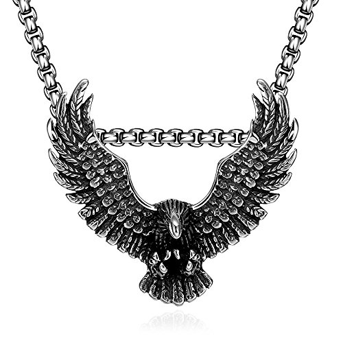 Eagle Necklaces Titanium Fashion Chain Free 316L Stainless Steel Vintage Pendant Necklace