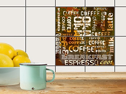 fliesenfolie selbstklebend 10x10 cm 2x2 design coffee typo. Black Bedroom Furniture Sets. Home Design Ideas