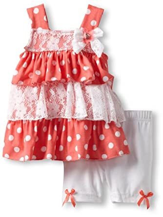 Little Lass Baby-Girls Infant 2 Piece Bike Short Set With Layers, Coral, 12 Months