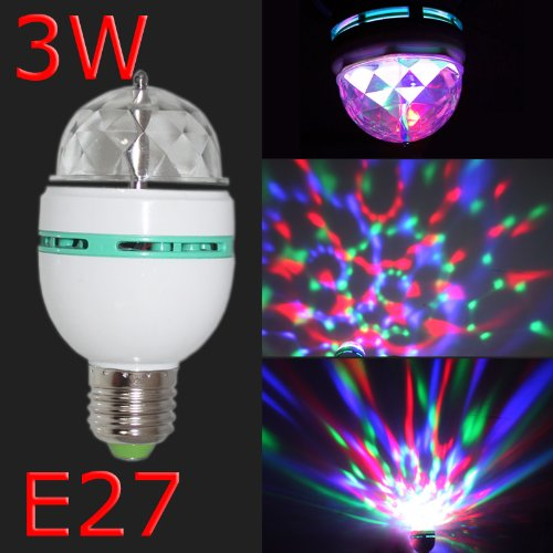 Hkbayi 3W E27 Voice-Control Mini Party Light Rgb 3 Led Led Colorful Rotating Spot Crystal Light Bulb Lamp Christmas Xmas Party (Ly-399 Voice-Control)