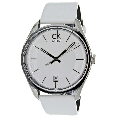 CALVIN KLEIN MASCULINE K2H21101 GENTS WHITE LEATHER STAINLESS STEEL CASE WATCH