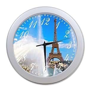 Home Decoration Living Room Decal Wall Clock Paris Eifell Tower Beautiful Landscape
