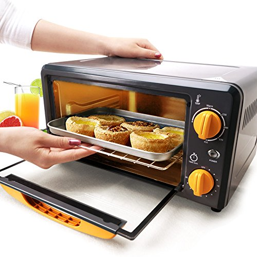 SKG High Performance 1000W 0.38 CU FT Mini Oven Broiler - Portable Small Oven for Fast Baking - Compact Kitchen Countertop Dorm Oven - Pizza Oven Home (Small Oven For Baking compare prices)