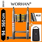 WORHAN® Double Telescopic Ladder 5.6m WITH ALUMINUM RINGS Foldable Extendable Multipurpose Aluminium A Frame Robust & Carry bag