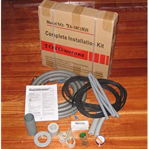 Complete Installation Kit line set Including 3/8 INCH x 20 Foot &#038; 1/4 INCH x 20 Foot Insulated Refrigerant Copper Connecting Pipe (with Flare Nuts), 22.5 Foot Electrical Power Wire, 22.5 Foot Electrical Signal Wire for 7000BTU to 12000BTU Ductless Mini Split Air Conditioner with Heat Pump or Central Split Air Conditioner with Heat Pump or Split AC System with Heat Pump