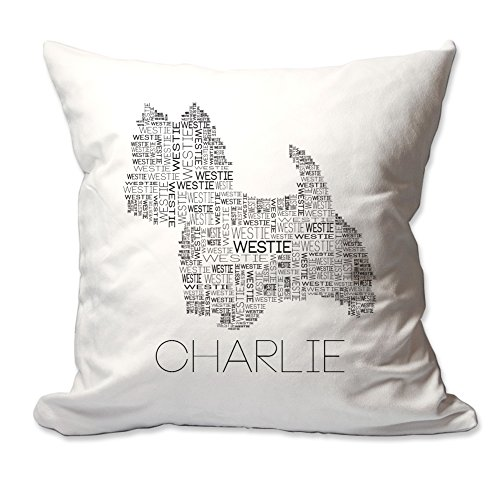 Personalized Westie Word Silhouette Throw Pillow