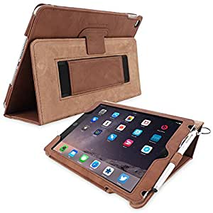 iPad Air (iPad 5) Case, Snugg™ - Smart Cover with Flip Stand & Lifetime Guarantee (Distressed Brown Leather) for Apple iPad Air (2013)