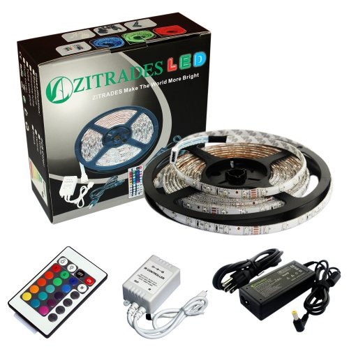Zitrades 5M 300 Led 3528Smd Rgb Color Changing Light Strip Waterproof With 24 Key Ir Music Controller With Power Supply By Zitrades