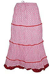 Indiatrendzs Women Skirts Cotton Pink Printed Casual Long Skirt