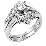 .925 Sterling Silver 6 Prong Setting Cubic Zirconia Wedding Ring Set
