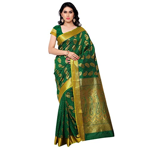 Varkala Silk Sarees Silk Kanchipuram Saree With Blouse Piece (SS3117PG_Pakistani Green)