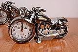 ELEVEN 重厚感! ハーレー風 バイク 型 目覚まし 時計 メタリック ボディ クリーニングクロス付き2点セット レトロ 置時計 インテリア プレゼント にも JDS-0569 (ブラッククローム(2色))