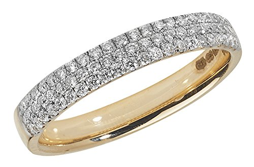 Diamond Wedding Ring 3 Row 18ct Yellow Gold 0.34ct