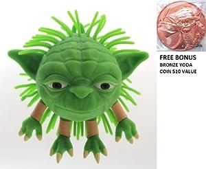"Disney Parks Star Wars Yoda Squishy ""Koosh"" Ball - Theme Park Exclusive Limited Availibility + Bonus Bronze Yoda Coin"