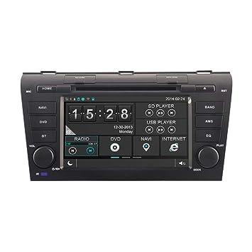 Autoradio DVD GPS Système de Navigation Stéréo Lecteur DVD Voiture avec 7 Pouces Écran Tactile 1080P HD Bluetooth Phone book GPS intégré CAN-BUS RDS pour 2004 2005 2006 2007 2008 2009 Mazda3