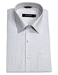 ARANY'S Premium White With Blue Checks Slim Fit Formal Shirt For Men - F7526, SIZE-38