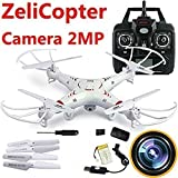 ZeliCopters RC Quadcopter with 2MP Video Camera,4 Ch 2.4ghz 6-gyro, Remote Control Drone Equipted with Headless System Drones Quadcopters