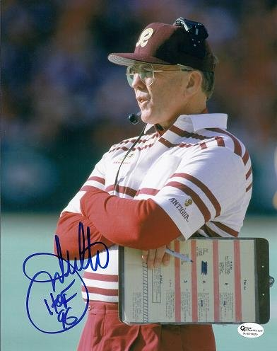Joe Gibbs Autographed / Hand Signed Washington Redskins 8x10 Photo - with HOF 96 inscription lauren holly signed autographed dragon the bruce lee story glossy 8x10 photo coa matching holograms