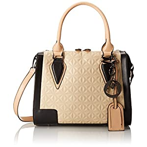 MG Collection Jules Cream Textured Pattern Office Tote Style Top Handle Bag, Cream, One Size