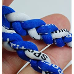 Buy 20 Ionic Titanium Baseball Braided Necklace Sports Softball Royal Blue & White by Titanium Sports
