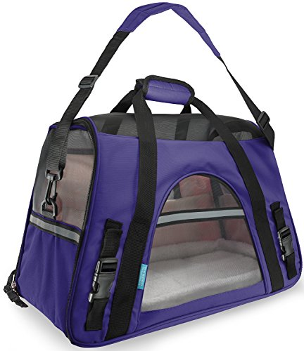 """OxGord® Pet Carrier Soft Sided Cat / Dog Comfort """"FAA Airline Approved"""" Travel Tote Bag – 2015 Newly Designed, Large, Lavender Purple"""