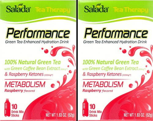 Salada Tea Therapy Performance Drink Mix Sticks -- 2 Packs Each Of 10 Sticks -- Metabolism Formula