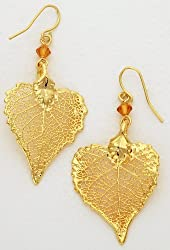 Earrings - Cottonwood Leaf, Gold Plated