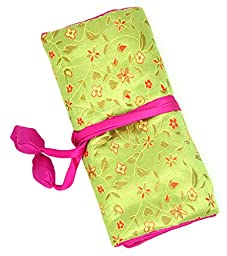iSuperb® Travel Jewelry Roll Silk Embroidery Brocade Elegant and Bold Travel Jewelry Case (Green)