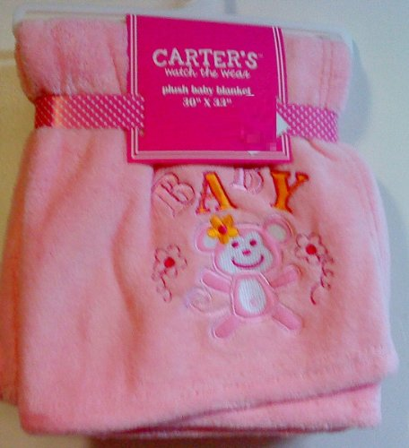 Carter's Watch the Wear Plush Baby Blanket Embroidered Baby and Monkey (Pink) - 1