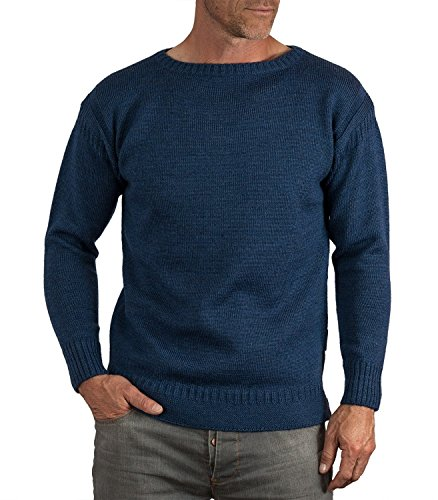 Wool Overs Men's British Wool Crew Neck Guernsey Sweater French Navy Extra Extra Large (Wool Overs British Wool compare prices)