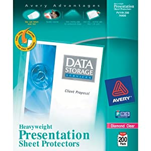 Avery Diamond Clear Heavyweight Sheet Protectors, Acid Free, Box of 200 (74400)