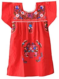 Mexican Puebla Dress Youth Girls, Red…