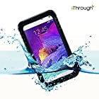 Galaxy Note 4 Waterproof Case, iThrough Waterproof, Dust Proof, Snow Proof, Shock Proof Case with Touched Transparent Screen Protector, Waterproof Protection up to 20ft, Heavy Duty Protective Carrying Cover Case for Samsung Galaxy Note 4 (Black)