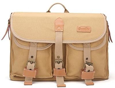 "Zebella Casual Canvas Professional DSLR Camera Bag Crossbody Gafget Bag, Khaki, 15.0"""