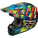 Fly Racing Kinetic Dash Youth Motocross Motorcycle Helmet - Blue/Yellow/Orange / Medium