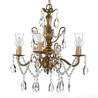 Wrought Iron & Crystal 4 Light Gold Chandelier Lighting